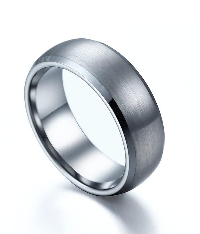 8mm Domed Tungsten Carbide Ring Brushed Center Flat Top