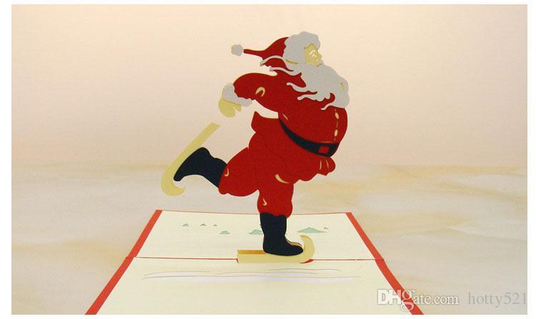 Santa Claus Postcards 3D Merry Christmas Greeting Card Fashion Cut Pop Up Paper Handmade Cards free shippiong