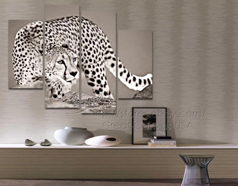 2018 Sepia Cheetah Modern Wall Art Canvas Set Of No Frameless Draw ...