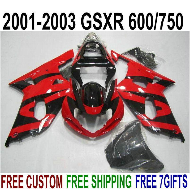 Perfect fit for SUZUKI GSXR600 GSXR750 2001-2003 plastic fairings set K1 01 02 03 GSX-R 600 750 red black fairing kit XA86