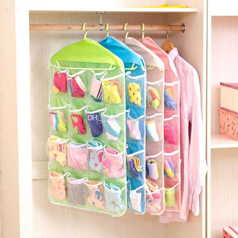 16 Grid Pocket Bag Underwear Bras Socks Ties Shoes Cosmetic Storage Bag Hanging Bags Closet Clothing Organizer Clear Tote Bag