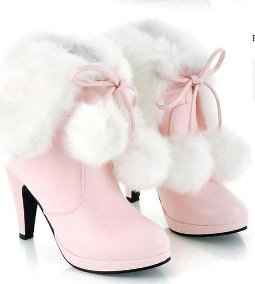 Women Cute Ball Tassel Fur Boots Platform Pumps Boot High Heel Shoes Lady  White Pink Black Simulation Of Rabbit Hair Boots Big Size:34 43 Chelsea  Boots ... - Women Cute Ball Tassel Fur Boots Platform Pumps Boot High Heel