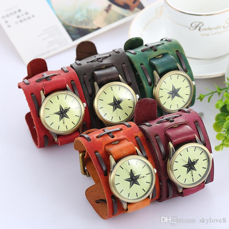 Pentagram Vintage genuine leather bracelet watch punk men teens quartz wristwatch cuff bangle party festive gift Three dials Watches