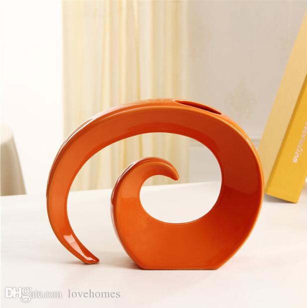 Vase en céramique moderne pour HOme Decor vase de table blanc rouge noir choix de couleur orange