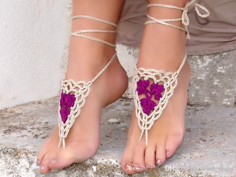 Puro de punto Crochet Sandalias Descalzas boda tobilleras playa tobilleras zapatos adorno pulsera de tobillo Flip Flop accesorios Sexy
