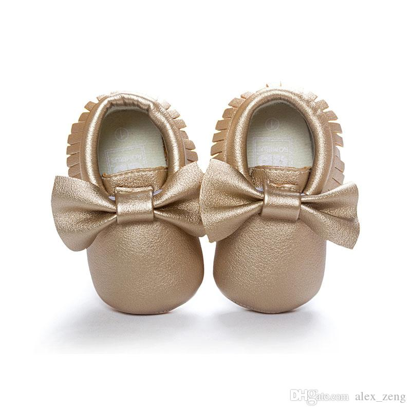 New Baby First Walker Shoes moccs Baby moccasins soft sole moccasin leather Colorful Bow Tassel booties toddlers shoes Free EMS