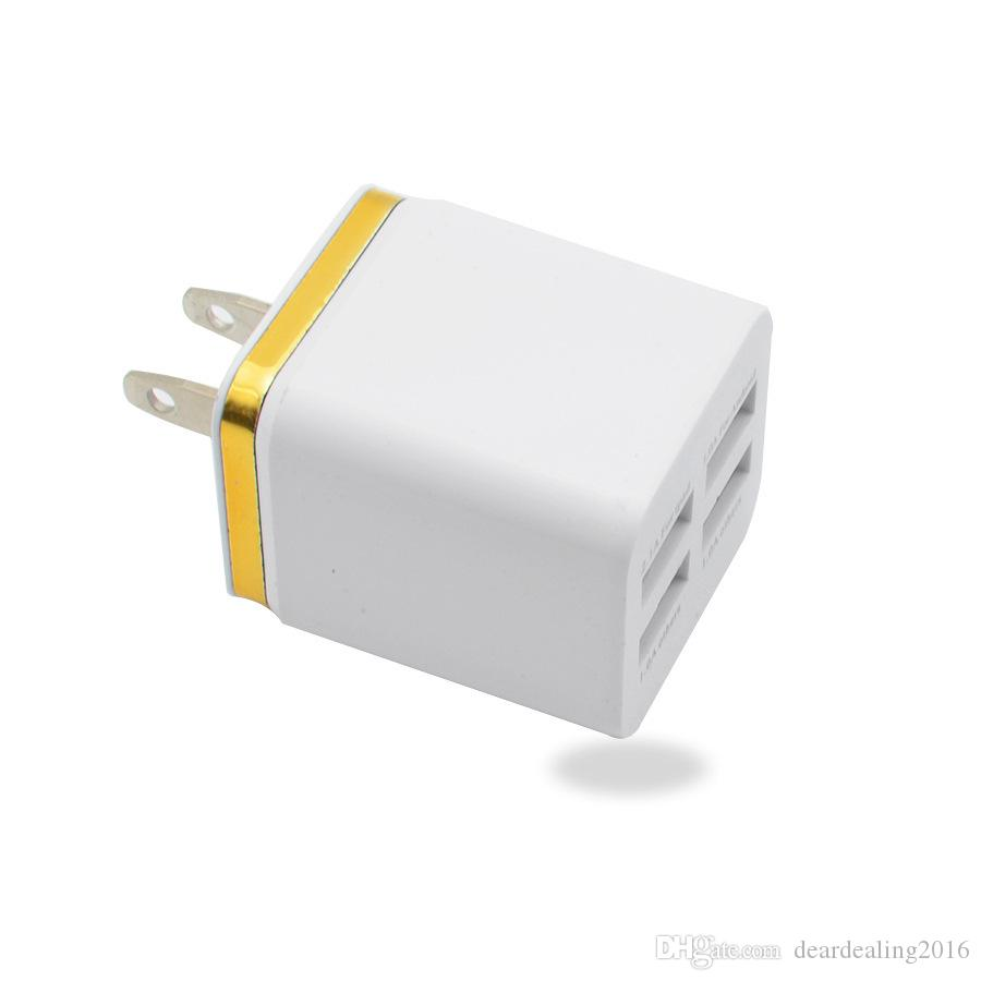 Gold Edge Electroplating Wall Charger 4USB Wall Home Travel AC USB Battery Charger Charging Adapter for Cell Phones iPhone HUAWEI Tablets