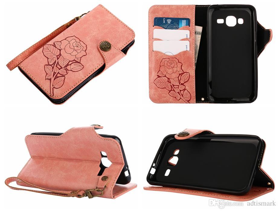 Vintage Rose Abdeckungen Fällen für Samsung Galaxy J3 Fall Prime Leder Luxus Karte Flip-Cover für Samsung Galaxy J3 2016 2017 Fall