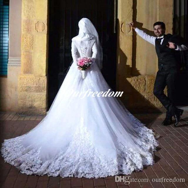 Мусульманские хиджаб с длинным рукавом свадебные платья 2019 новое поступление зашнуровать аппликации Islamc свадебное платье на заказ для свадьбы высокого качества