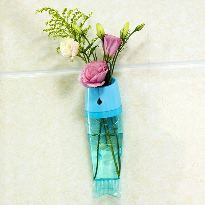 魚の形の花瓶の壁に取り付けられた取り外し可能な透明なプラスチック製の家の装飾の創造的なカラフルな水耕水の花瓶