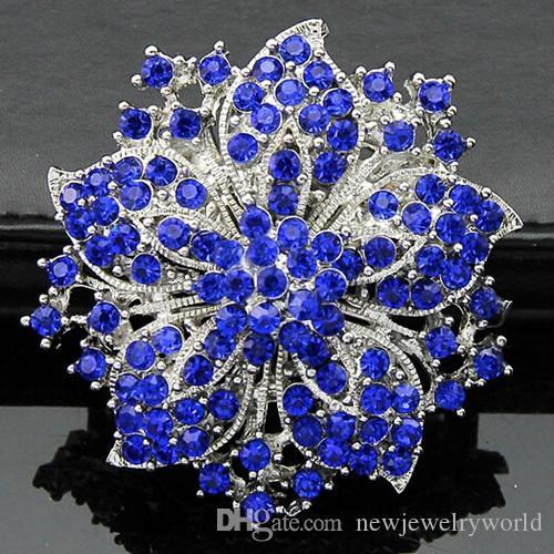 Vintage Kwiat Wyczyść Rhinestone Kryształy Kobiety Gorąca Sprzedaży Broszka Elegancka 2015 Nowa Moda Party Kostium Pins Broaches