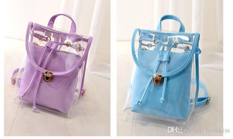 2016 Nova Coreano Doce sacos de praia schoolbag meninas jelly cor sacos de bagagem Lady Mochila crianças sacos Crianças saco casual
