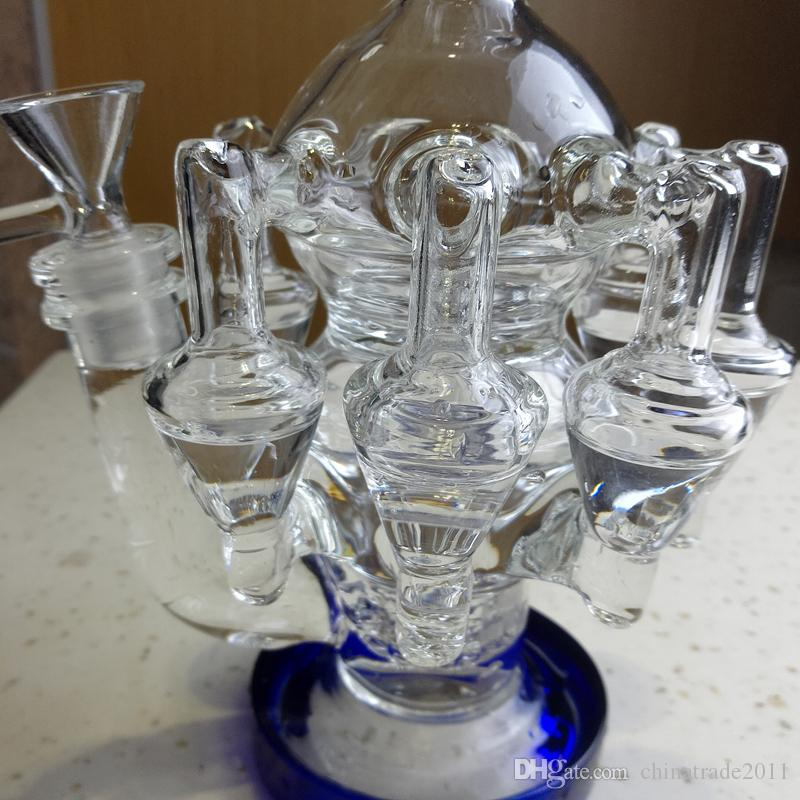 """Thick Glass Bongs Recycler Smoking Water Bong 12.6"""" inch Tall Octopus Arms Matrix Perc Bubbler Glass Pipes Oil Rig Blue Mouthpiece Base"""