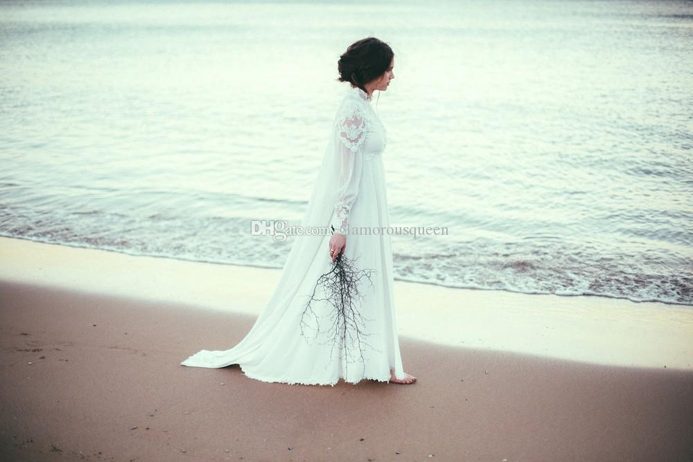 Manga longa Praia Chiffon Vestido De Casamento Muçulmano com Rendas Alta Neck Elegante Oriente Médio Mulheres Vestidos de Casamento Até O Chão