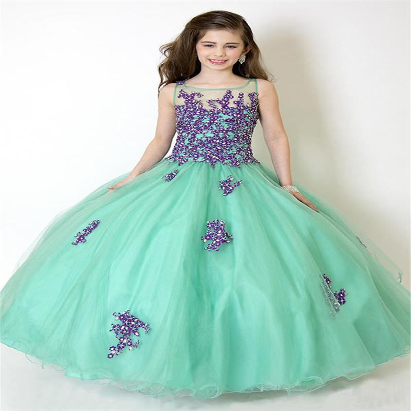 2015 Girls Pageant vestidos de dama de honor Partido Princesa Ball Gown Formal Vestidos Personalizado