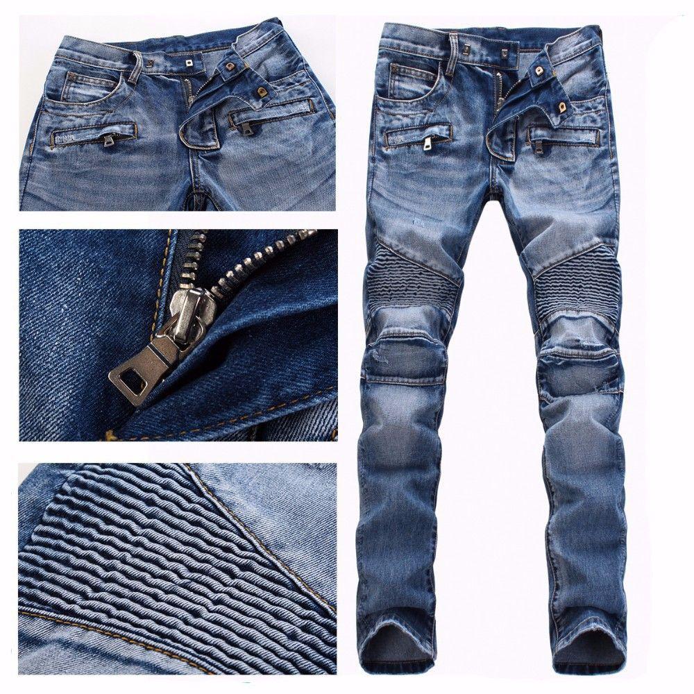 Best Men Brand Paris Runway Stretch Jeans Washed Acid Light Blue ...