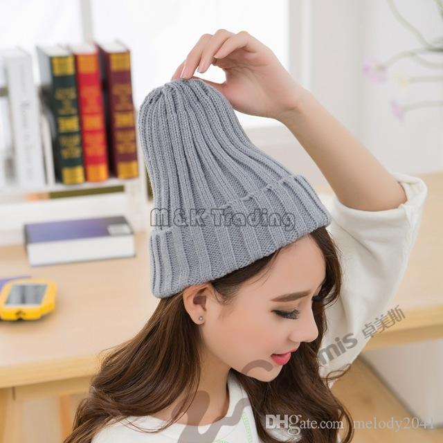 Korean Popular Simple Women Beanie Caps Casual Skull Knitted Fashion Cute Colorful Soft Hats 20pcs Lot