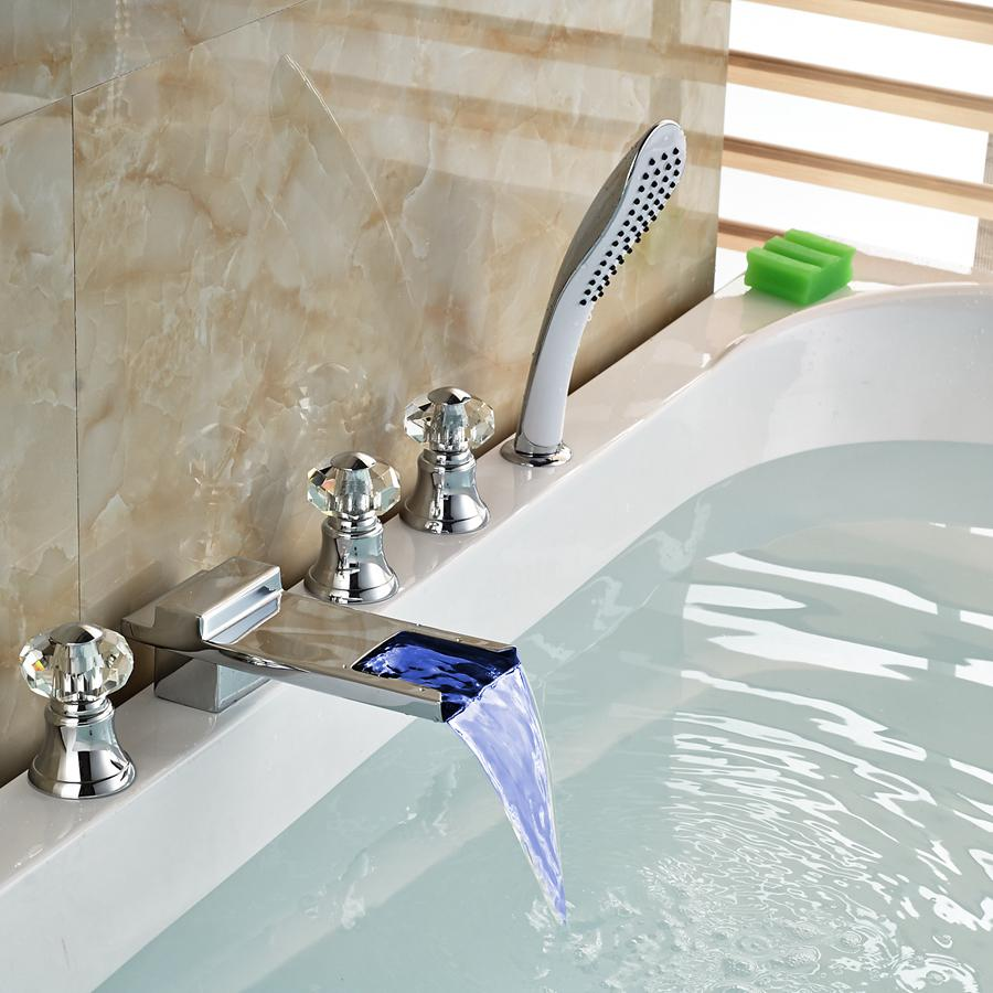 Wholesale And Retail Changing LED Waterfall Bathroom Tub Faucet W ...
