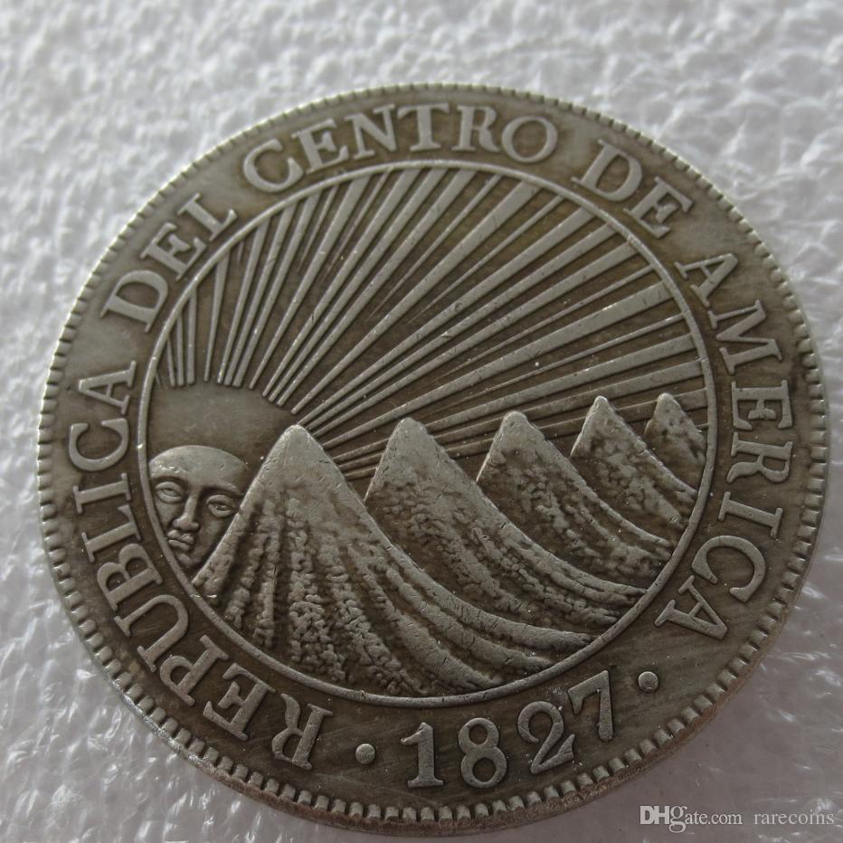 Großhandel Zentralamerikanische Republik 1827 8 Reales Silberkopie