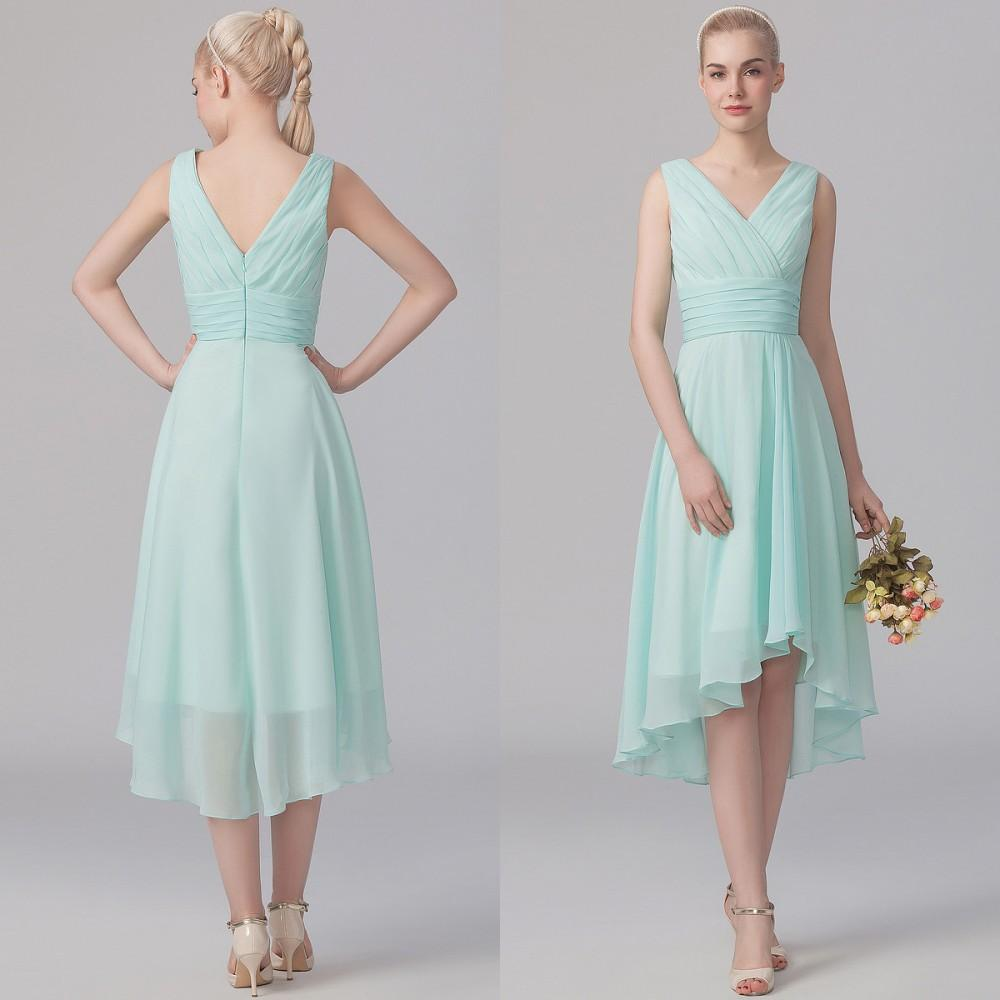 Simple Modest Wedding Dress 2015 Sweetheart Low Back: 2015 Modest High Low Bridesmaid Dress With Sexy Ruched V