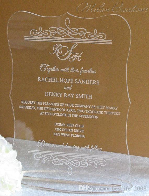 2016 Best Selling Acrylic Clear Wedding Invitations CardWedding