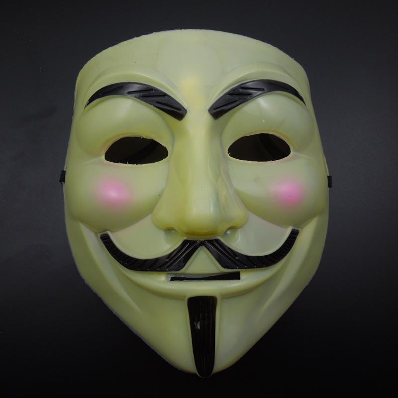 в продаже V Маска светло-желтый Vendetta Mask Супер страшный фильм маски Halloween Party Mask mardi gras Костюм маскарада party prop