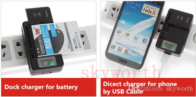 Universal LCD Screen USB AC Phone Battery Li-ion Home Wall Dock Travel Charger Samsung Galaxy S4 S5 S6 edge Note 3 4 Nokia Cellphone