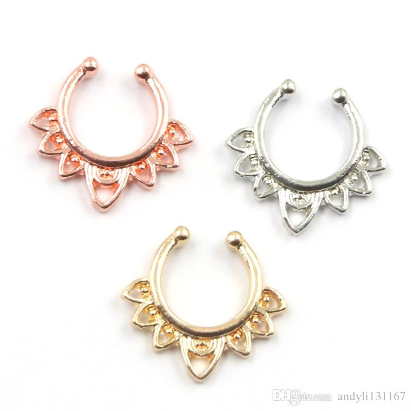 Hot Sale Variety Fake Septum Nose Rings Gold Faux Piercing Nose Studs Body fake Hoop Nose Ring For Women Septum Clip Jewelry
