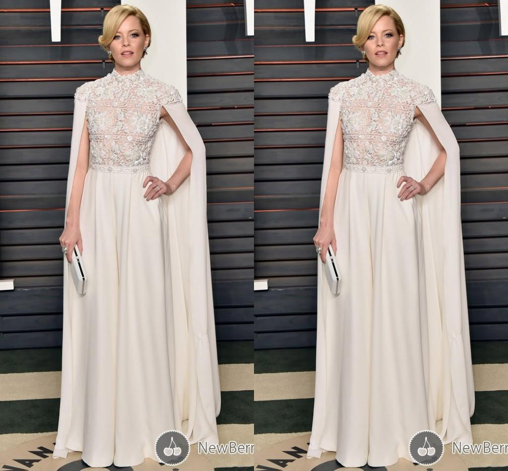 See Through Champagne Chiffon Red Carpet Celebrity Dresses With ...