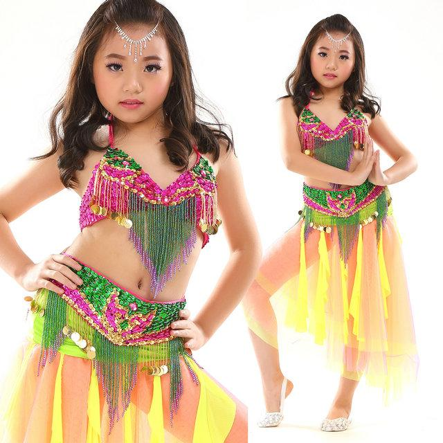 ce50a8fecec Girls Children s Belly Dance Costume Suits Sequin Beads Fringe Mardi Gras India  Dance Set Wear Performance Clothes Dance Dress Online with  58.69 Set on ...