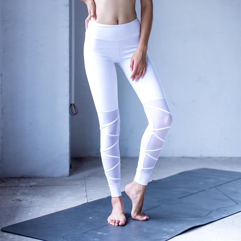 foto de 2019 Women White Yoga Leggings High Waisted Yoga Athletic