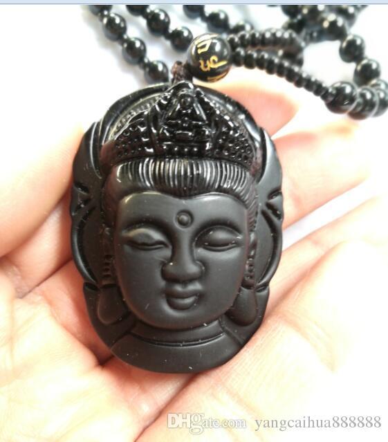 Collana di ossidiana naturale Moda nera Ruyi Guan Yin Ciondolo donna Uomo Vintage Fine giada Ornamenti gioielli D3