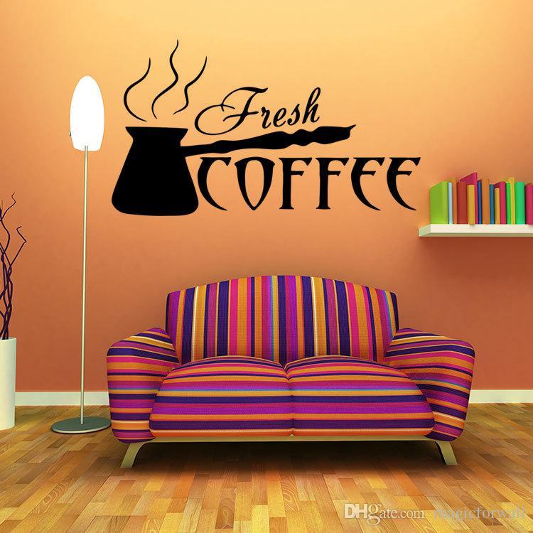 커피 벽 아트 벽화 포스터 신선한 커피 벽 데칼 스티커 부엌 룸 식당 식당 예술 장식 벽 문신