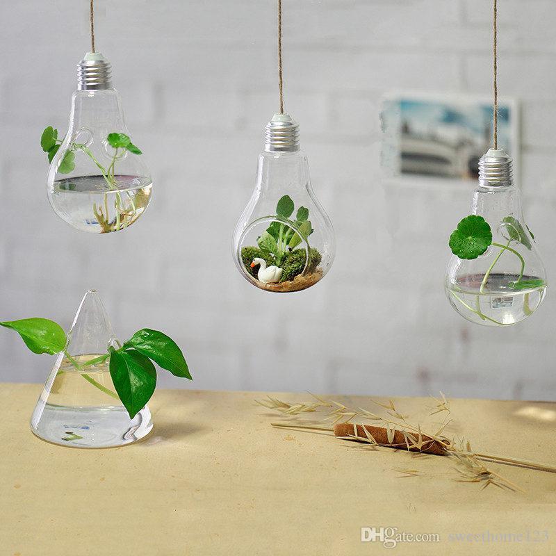 3 Style Transparent Verre Suspendus Ampoule Vase pour Mariage / 8 * 14cm Fleur Plante Pot Planteur Décor À La Maison Cadeau Créatif pour La Décoration, Corde GRATUIT