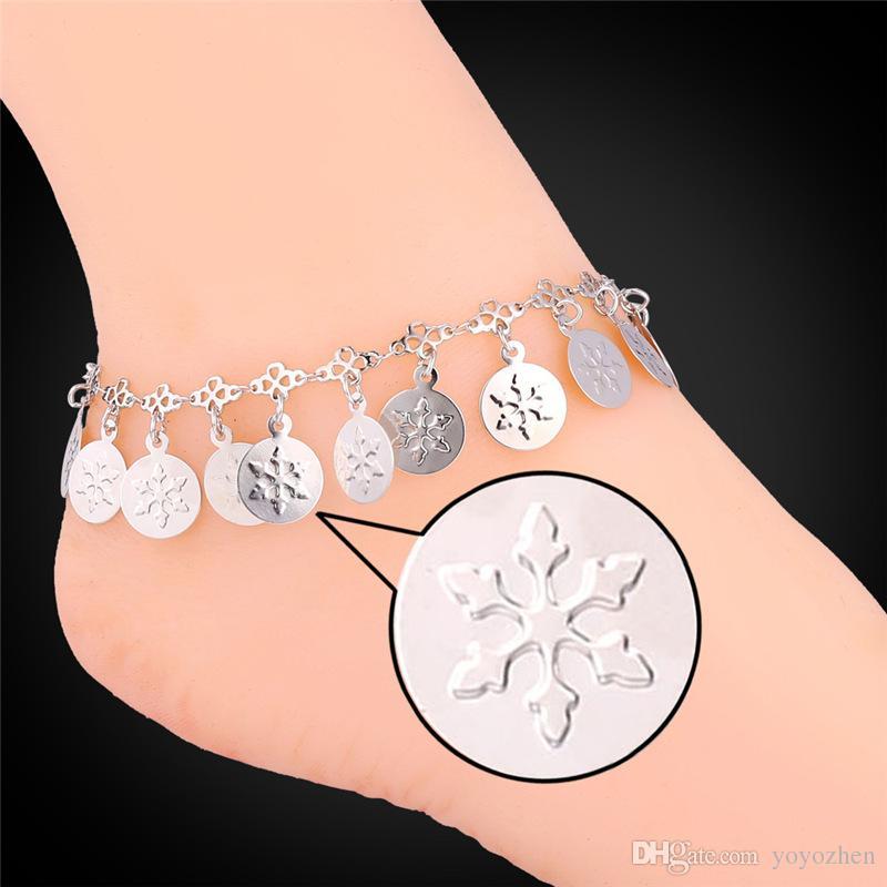 Kadınlar Romantik Kar Tanesi Paraları Takılar Ayak Bileği Zincirleri 18 K Gerçek Altın / Platin Kaplama 18 K Damga Bilezik Halhal