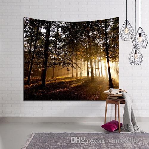 130 * 150 cm Forest Scenery Tapisserie Wandbehang Sandstrand Picknick Werfen Teppich Decke Camping Zelt Reise Matratze Isomatte
