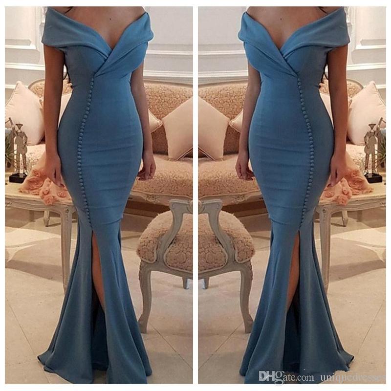 Vestidos de noche de sirena árabe baratos fuera del hombro 2018 Vestidos de fiesta de fiesta largos y formales con abertura lateral sexy
