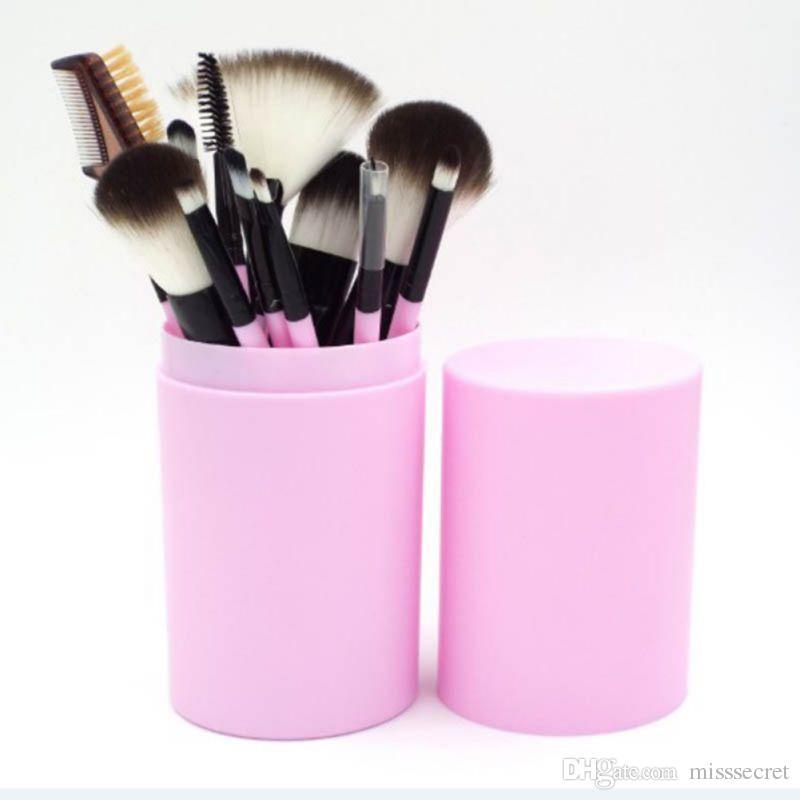 المهنية ماكياج فرشاة مجموعات 7 لون مقبض كحل مزج فرش ماكياج قلم رصاص مع مربع كأس بلاستيك جولة