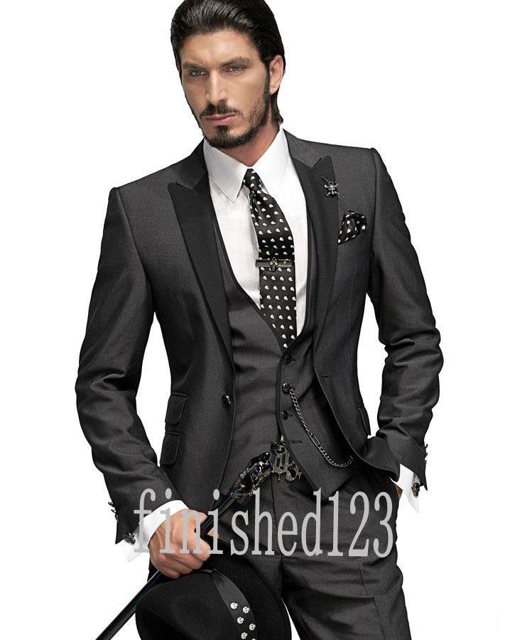 New Arrivals One Button Charcoal Groom Tuxedos Peak Lapel Groomsmen Best Man Wedding Prom Dinner Suits Jacket+Pants+Vest+Tie G5008