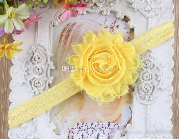 топ потертый цветок волос группа детей шифон головы кольцо Chic Baby оголовье тощий эластичный руководитель группы девушки оголовье аксессуары для волос 200 шт.