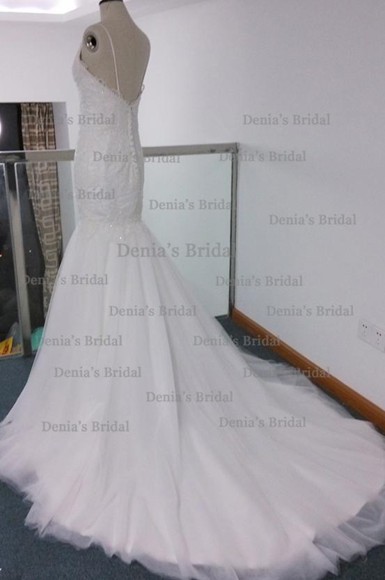 Riktig bild sjöjungfru bröllopsklänning spaghetti remsor baklöst med spets applikationer kapell tåg brudklänningar steven dhyz 01