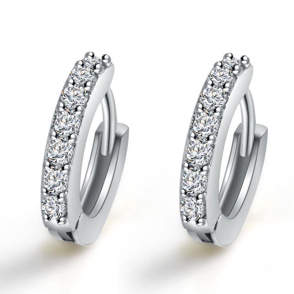 24c9688e8131c Earrings Hoop for Women Zircon Stone Diamond Earring Bridal  Wedding/Engagement Round Drop Earrings Hanging 925 Sterling Silver Hoop  Earrings