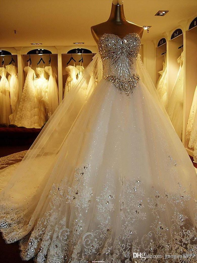 2016 Modest sparkly Crystal lace Wedding Dresses Luxury Cathedral Train Bridal Gowns Real Image plus size wedding gown Pnina Tornai