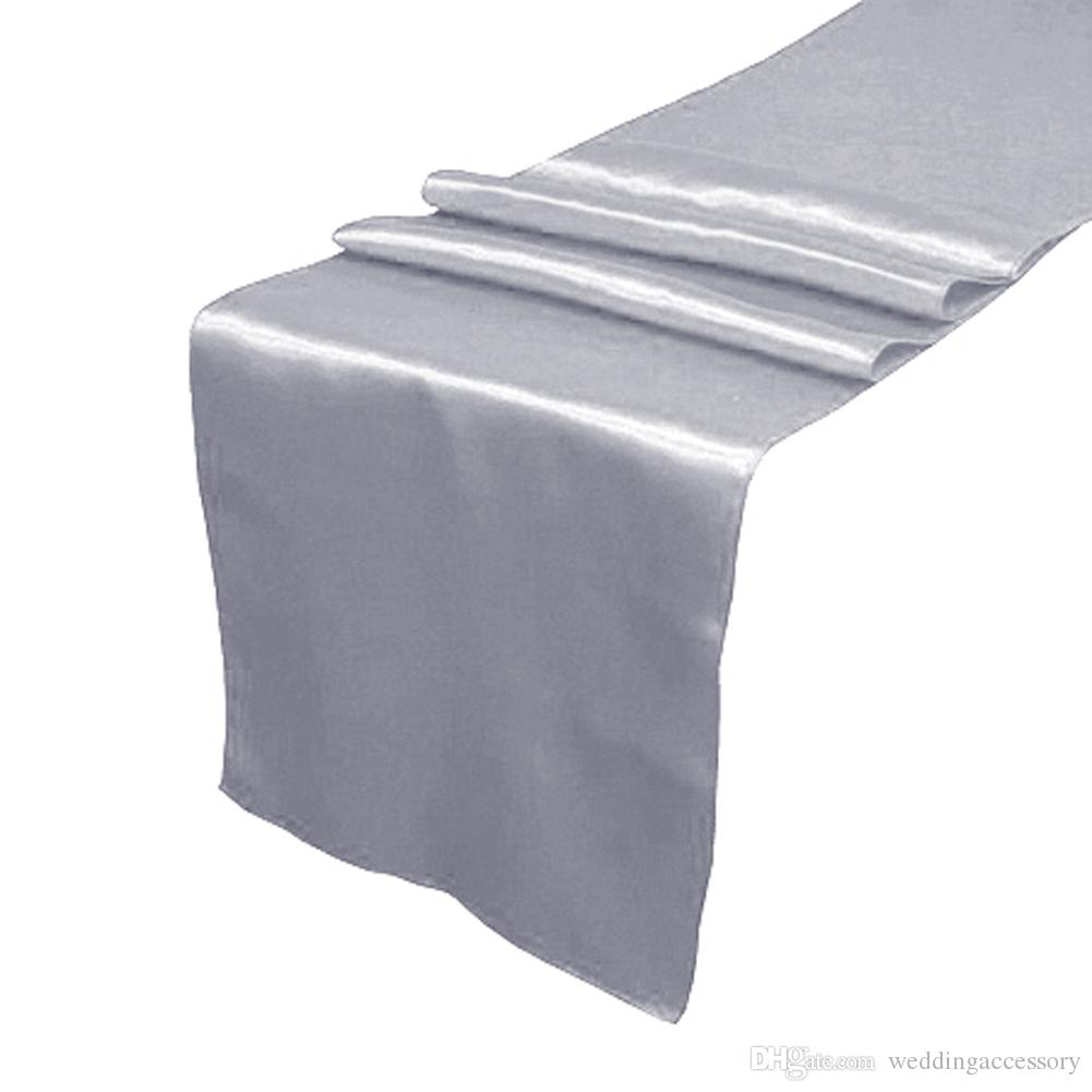 Dark Silver Satin Table Runner Wedding Cloth Runners Silk Organza Holiday  Favor Grey Run Easter Table Runners Elegant Table Linens From  Weddingaccessory, ...