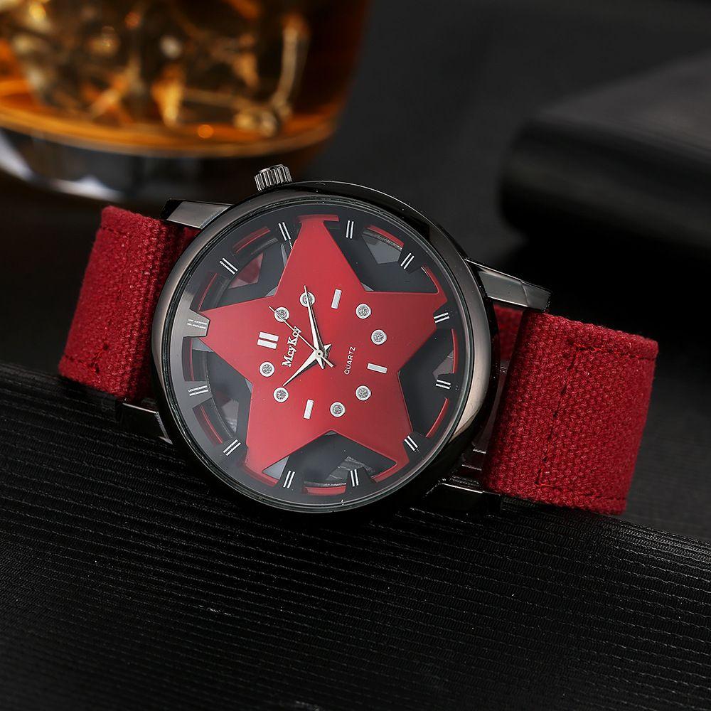 미국 여성 시계 패션 다섯개 스타 할로우 시계 캔버스 꼰 스트랩 빅 레드 다이얼 중립 드레스 시계