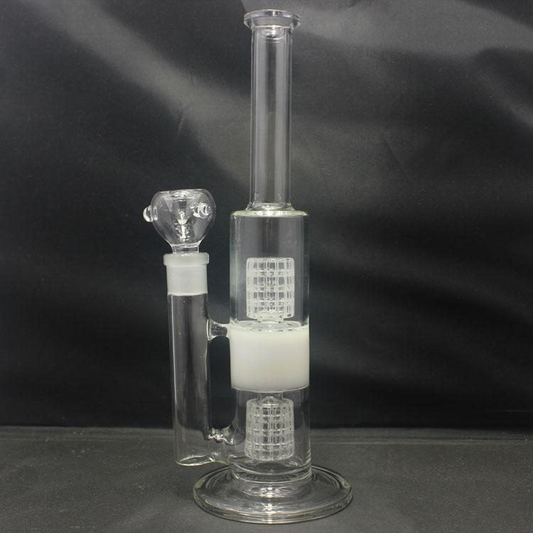 Online Cheap 12 Inch Double Showerhead Glass Bongs Straight Tube ...