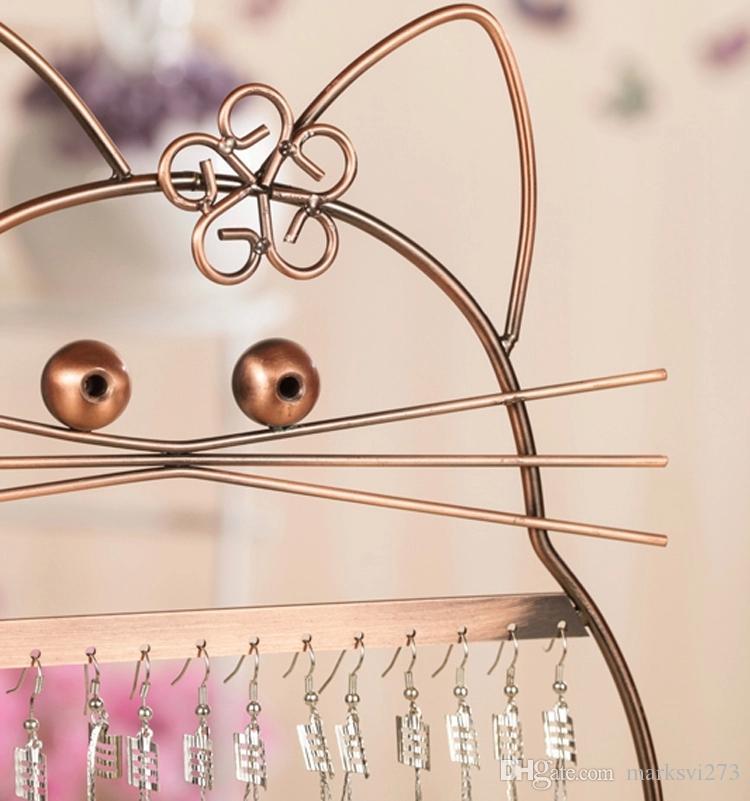 Iron Lucky Cat Earring Stud Holder Metalen Sieraden Organizer Oorbellen Displays Stand Rack Props Black / Bronze