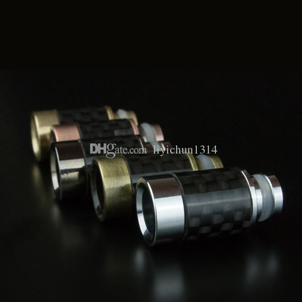 E cigarettes Stainless Steel Flat & Carbon Fiber Material Wide Bore Drip Tip 510 Mouthpieces For RAD EE2 Tank Mechanical Mods