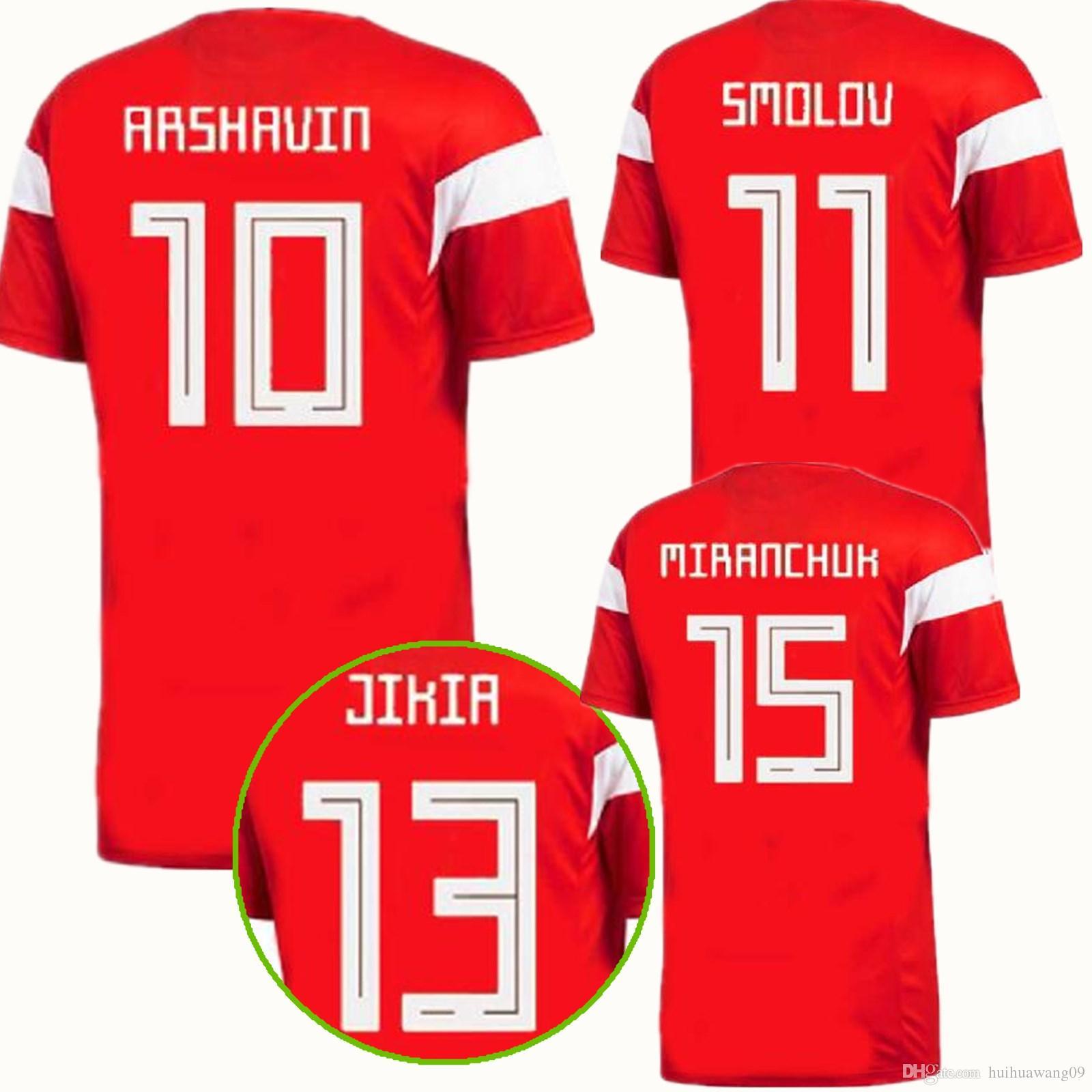 Camisetas De Fútbol De Rusia 2018 Copa Del Mundo Adultos Casa Rojo   10  DZAGOEV KOKORIN GLUSHAKOV SMOIOV KUZIAEV VRSIN ZHIRKOV 2018 CAMISAS DE  FÚTBOL ... 7f825fcd7e4b8