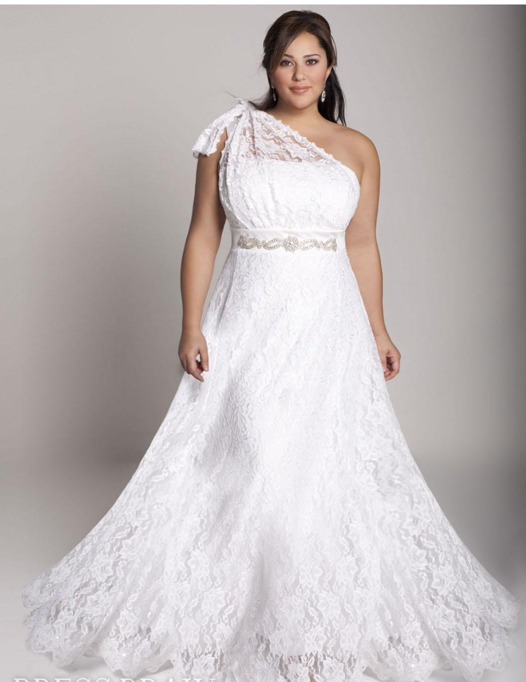 2015 Plus Size Lace Wedding Dresses One Shoulder A Line Bridal Dresses  Floor Length Long Garden Wedding Gowns with Beaded Sash